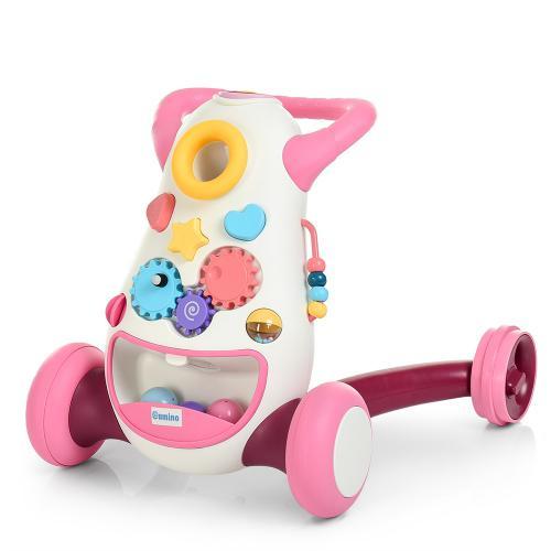 6820-8  Ходунки-толкатель  муз,свет,трещотка,шарики3шт,сортер,Розовый