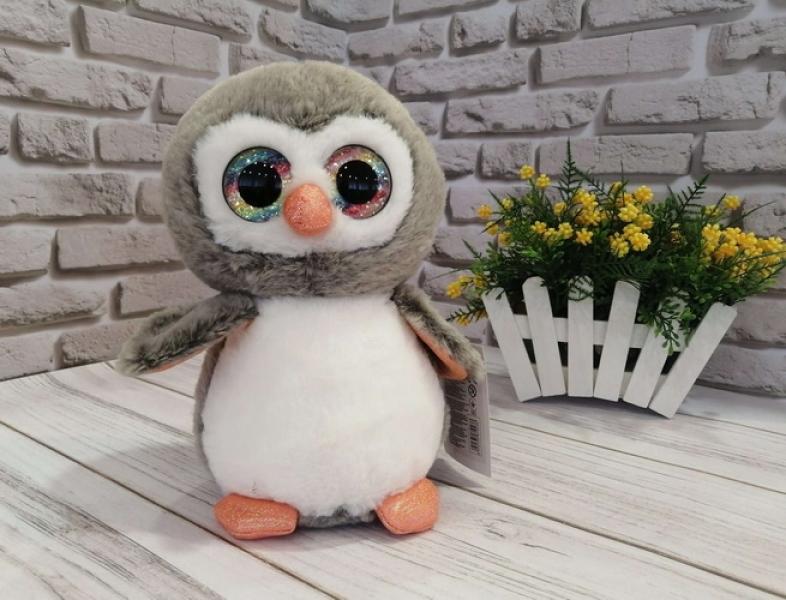 1017  Мягкая игрушка  глазастики пингвин 25 см