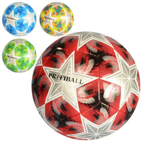 3193  Мяч футбольный размер 5, ПУ 3,5мм, ламинир, 400-420г, 4цвета, в кульке