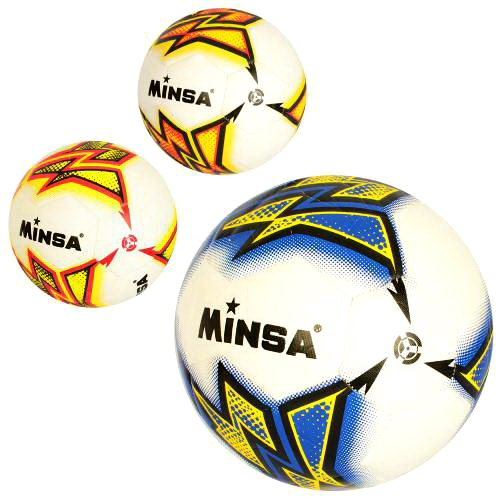 2503  Мяч футбольный MS размер5, PU, 380-400г, 3 цвета, в кульке