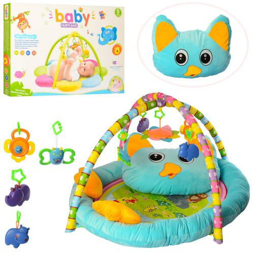 905  Коврик для младенца 90-71см,с подушкой,дуга2шт, подвески5шт, в кор-ке,86-59,5-10см