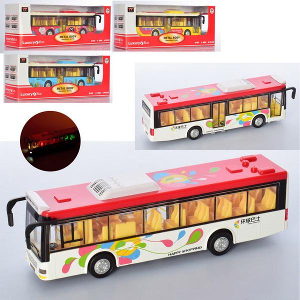 6011  Автобус  металл, инер-й,20см,муз, зв,св, двери открыв.4цв, бат(таб), в кор-ке, 26-