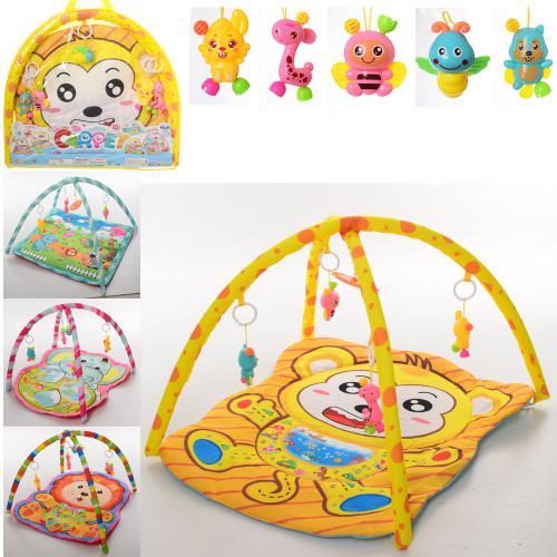 826-8-9-30  Коврик для младенца 70-64см,дуга 2шт, подвески 5шт, 4вида, в сумке, 60-54