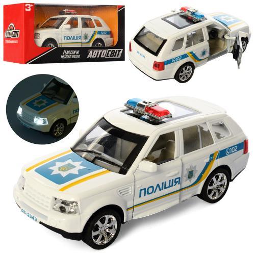 2343  Машина  АвтоСвіт,металл,полиция14см,звук,св,отк.двери,рез.кол,бат(табл),кор,16,5