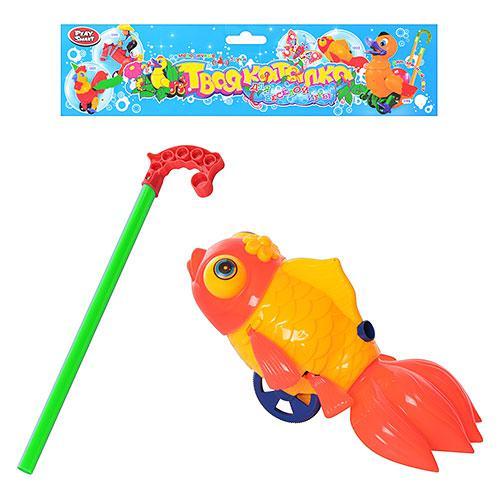 Каталка 1202 , рыбка, на палке, звук, в кульке, 33-28-12см