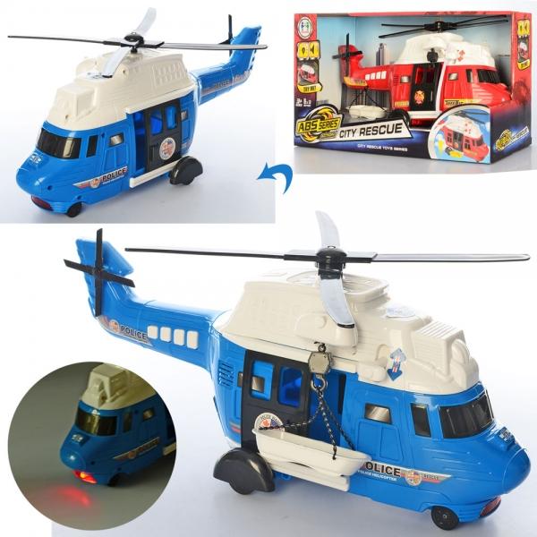 777-53  Вертолет 40см, звук, свет, 2в(полиция/пожарн), на бат-ке,в кор-ке, 43-2