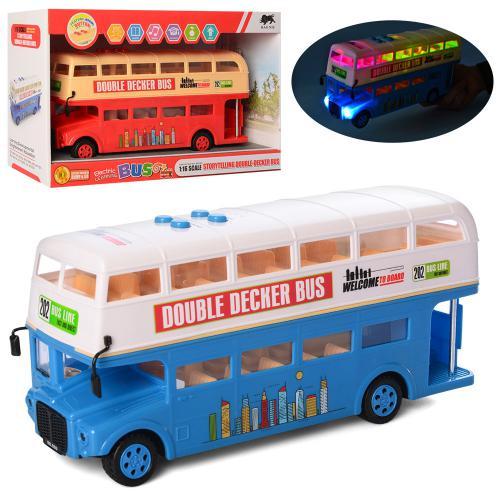 1588  Автобус  двухэтажный, 27,5см, 1:16,ездит,муз-зв(англ),св,2цв,бат,в кор-ке, 34-21,5-