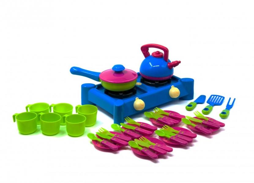 04-416  Плита с посудой,