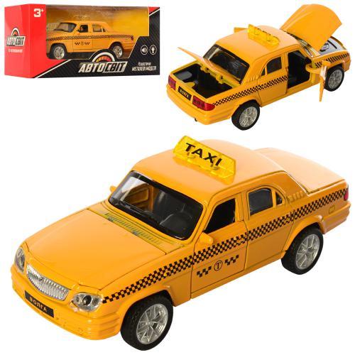 2444  Машина металл,инер-я, 13,5см,такси, откр.двери,рез.кол,в кор-ке,18-8-8см